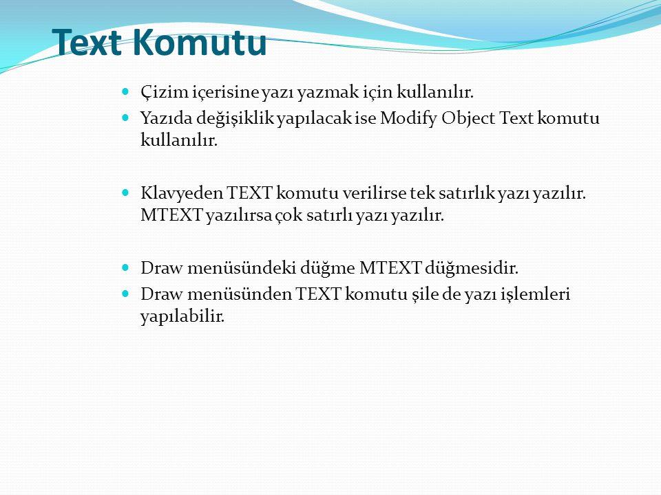 Text Komutu Çizim içerisine yazı yazmak için kullanılır.