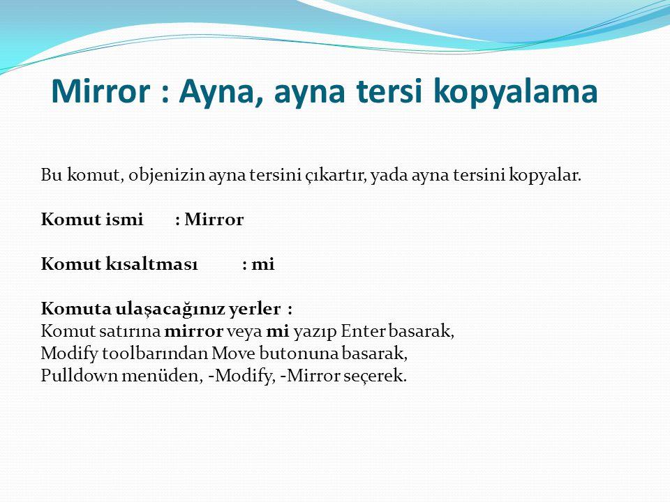 Mirror : Ayna, ayna tersi kopyalama