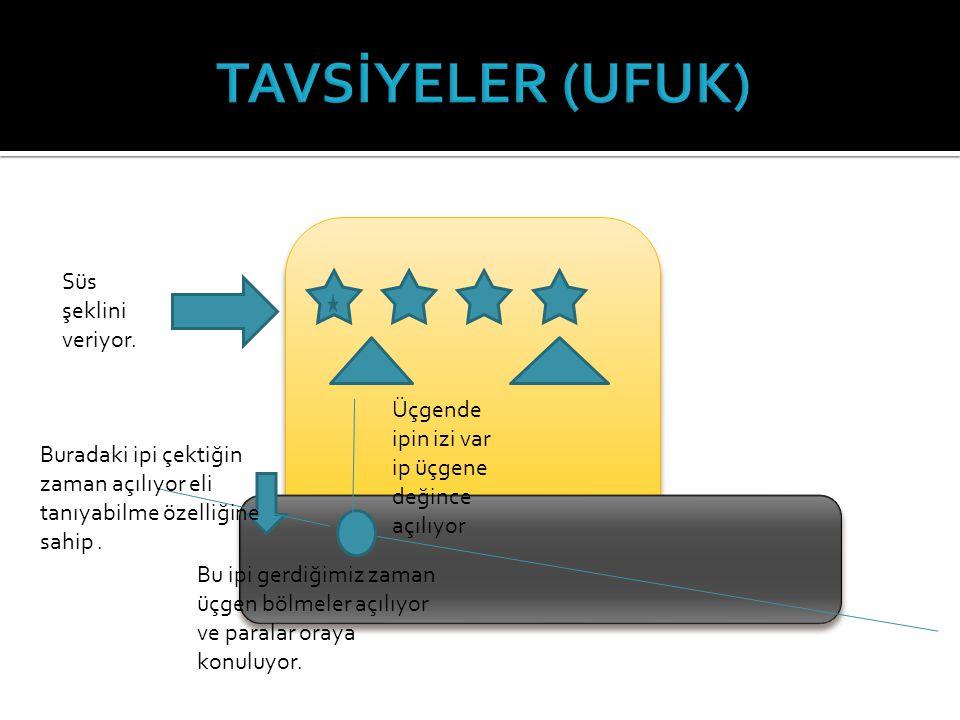 TAVSİYELER (UFUK) Süs şeklini veriyor.