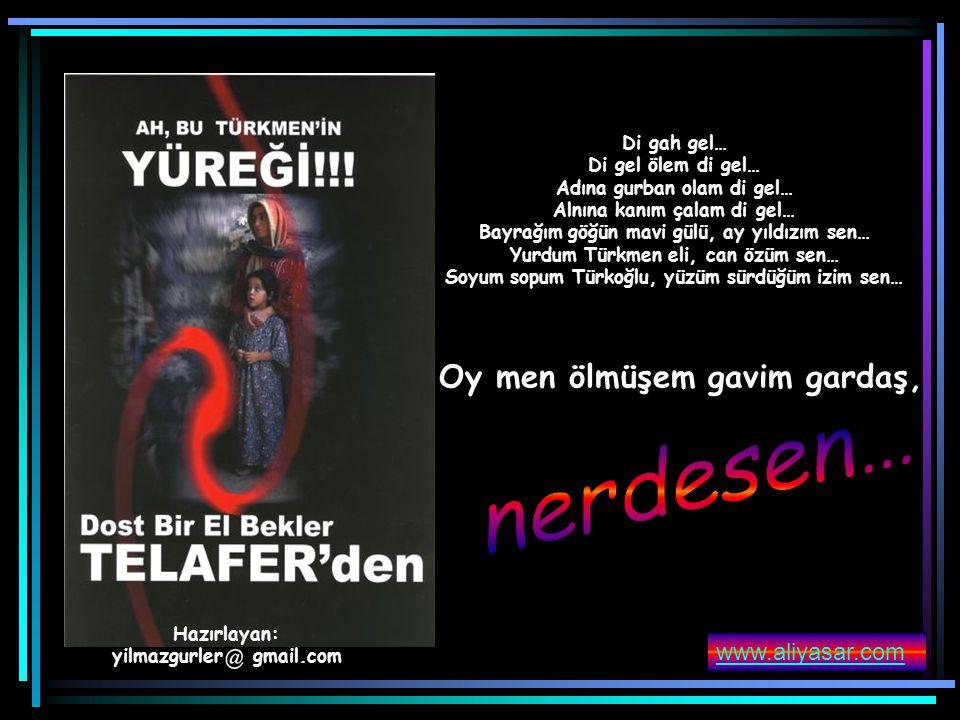 nerdesen… Oy men ölmüşem gavim gardaş, www.aliyasar.com Di gah gel…