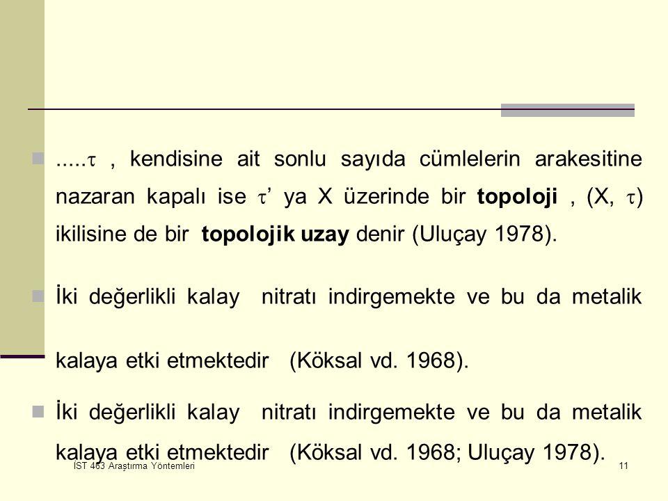 ..... , kendisine ait sonlu sayıda cümlelerin arakesitine nazaran kapalı ise ' ya X üzerinde bir topoloji , (X, ) ikilisine de bir topolojik uzay denir (Uluçay 1978).