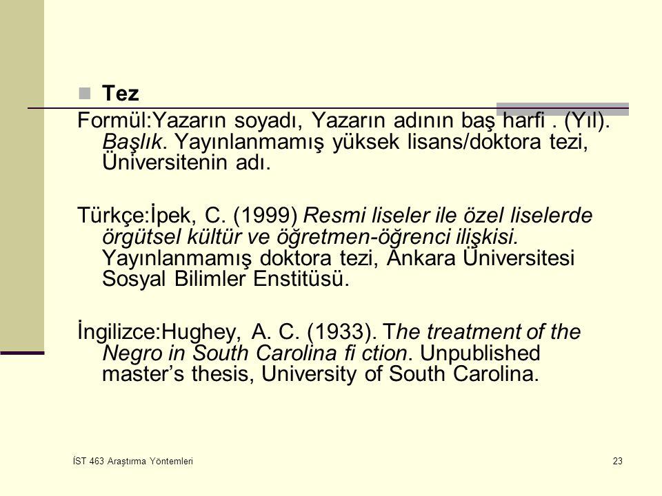Tez Formül:Yazarın soyadı, Yazarın adının baş harfi . (Yıl). Başlık. Yayınlanmamış yüksek lisans/doktora tezi, Üniversitenin adı.