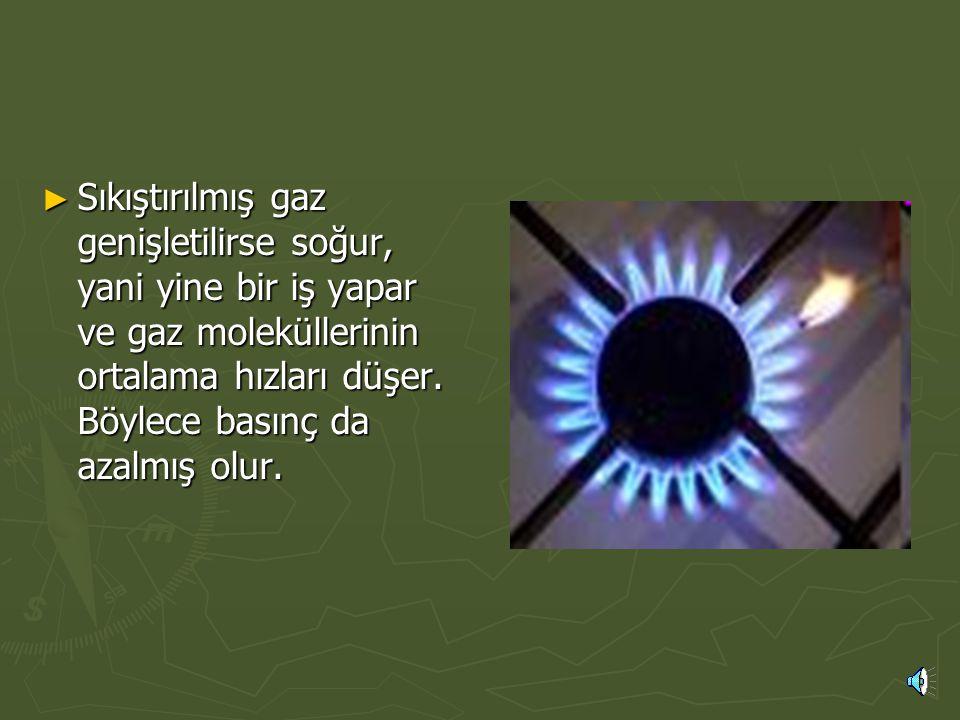 Sıkıştırılmış gaz genişletilirse soğur, yani yine bir iş yapar ve gaz moleküllerinin ortalama hızları düşer.