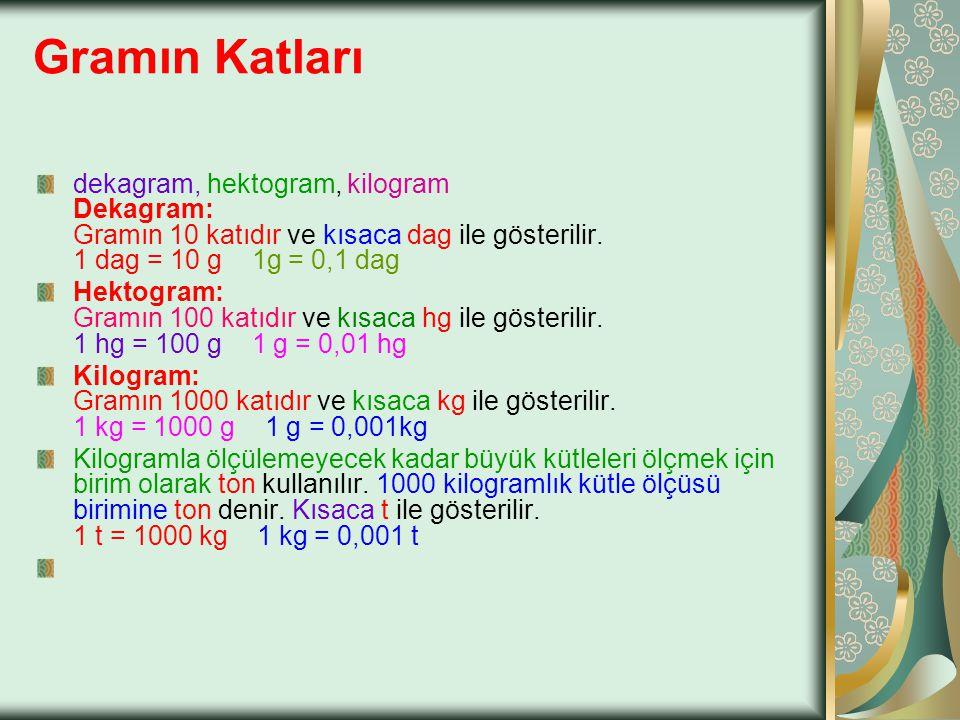 Gramın Katları dekagram, hektogram, kilogram Dekagram: Gramın 10 katıdır ve kısaca dag ile gösterilir. 1 dag = 10 g 1g = 0,1 dag.