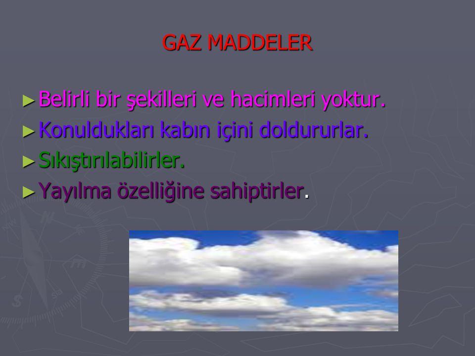 GAZ MADDELER Belirli bir şekilleri ve hacimleri yoktur. Konuldukları kabın içini doldururlar. Sıkıştırılabilirler.