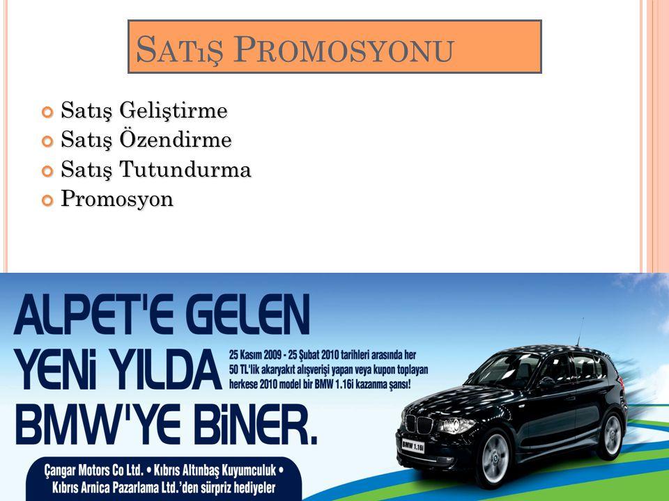 Satış Promosyonu Satış Geliştirme Satış Özendirme Satış Tutundurma