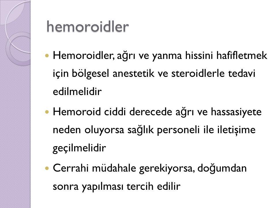 hemoroidler Hemoroidler, ağrı ve yanma hissini hafifletmek için bölgesel anestetik ve steroidlerle tedavi edilmelidir.