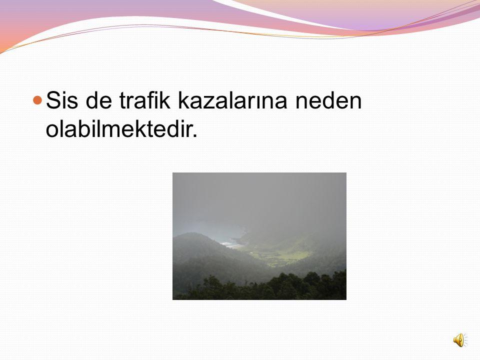 Sis de trafik kazalarına neden olabilmektedir.