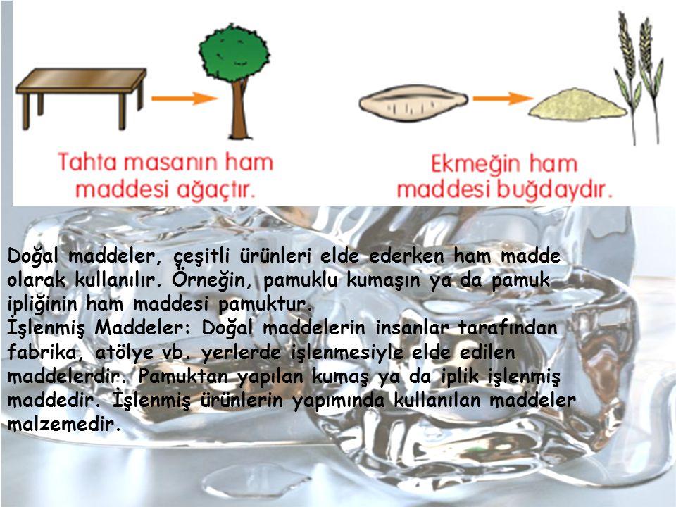 Doğal maddeler, çeşitli ürünleri elde ederken ham madde olarak kullanılır. Örneğin, pamuklu kumaşın ya da pamuk ipliğinin ham maddesi pamuktur.