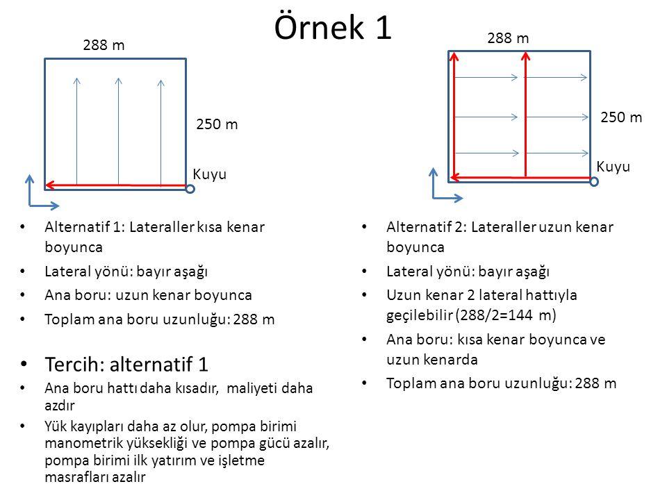 Örnek 1 Tercih: alternatif 1 250 m 288 m 250 m 288 m Kuyu Kuyu
