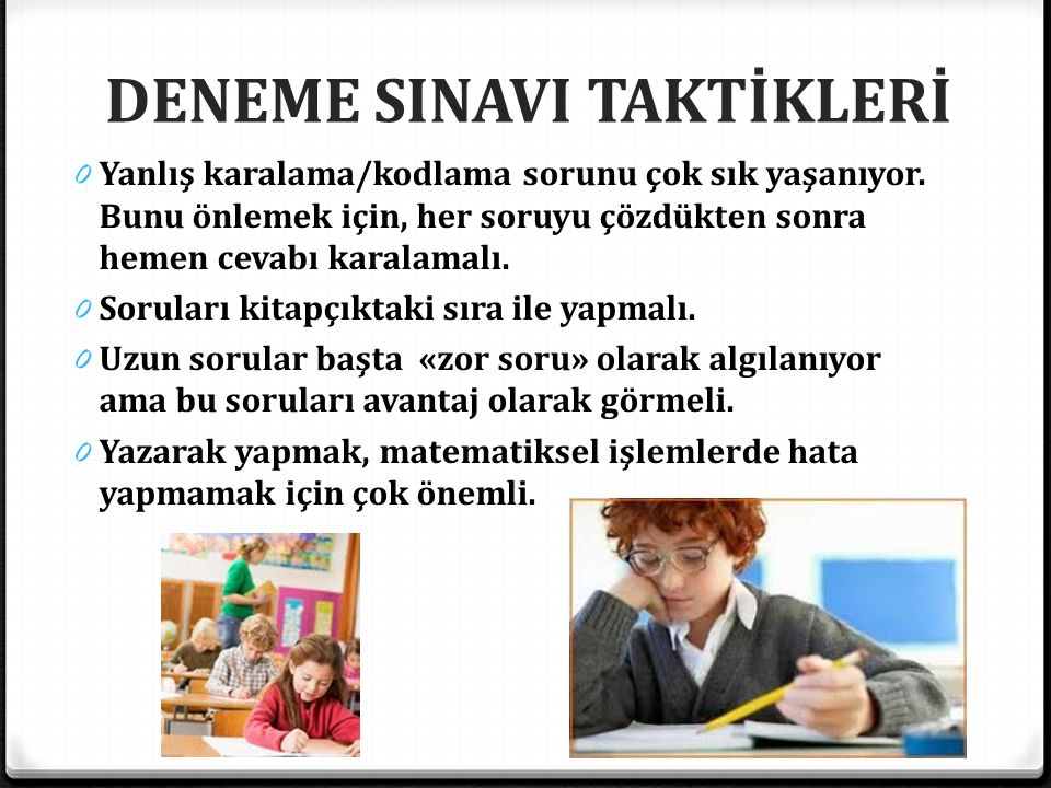 DENEME SINAVI TAKTİKLERİ