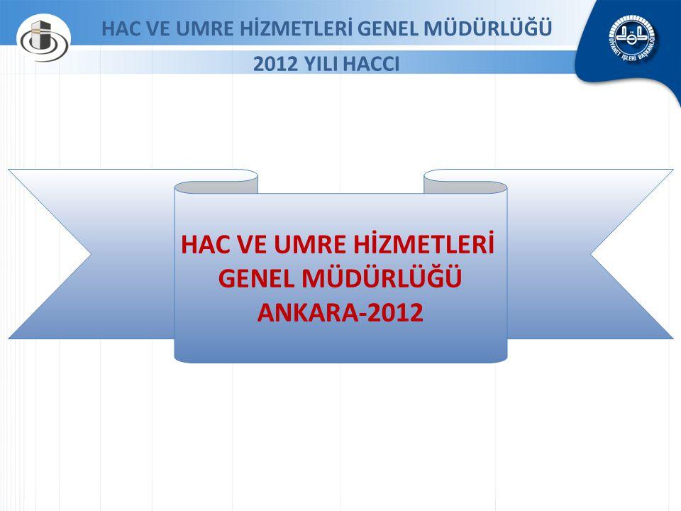 HAC VE UMRE HİZMETLERİ GENEL MÜDÜRLÜĞÜ ANKARA-2012