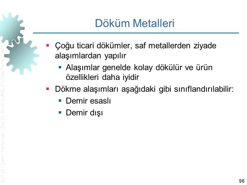 Döküm Metalleri Çoğu ticari dökümler, saf metallerden ziyade alaşımlardan yapılır. Alaşımlar genelde kolay dökülür ve ürün özellikleri daha iyidir.