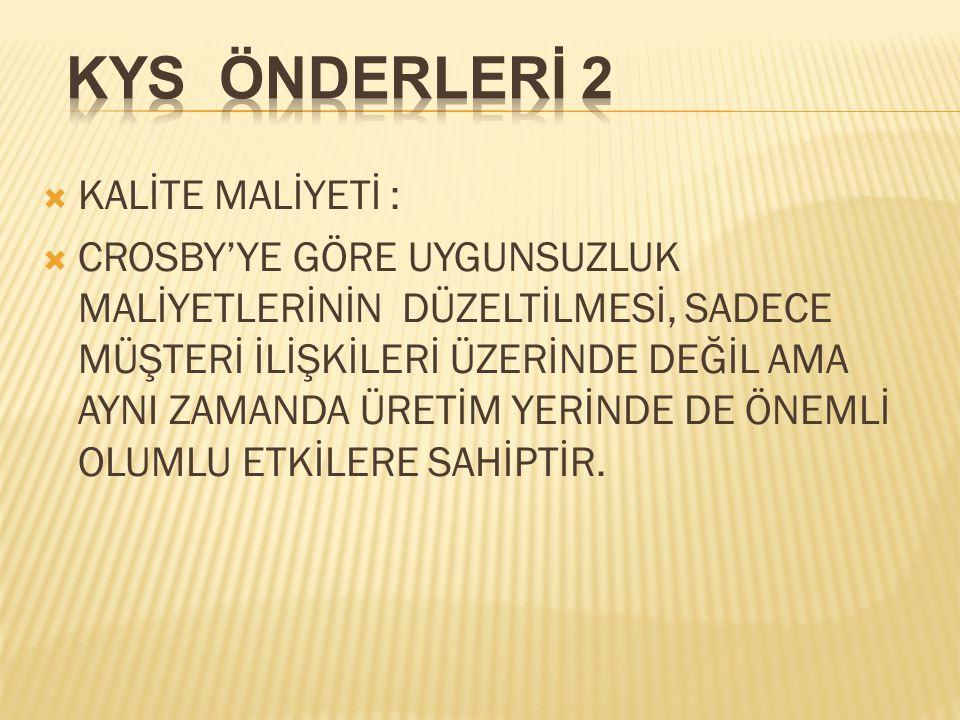 KYS ÖNDERLERİ 2 KALİTE MALİYETİ :