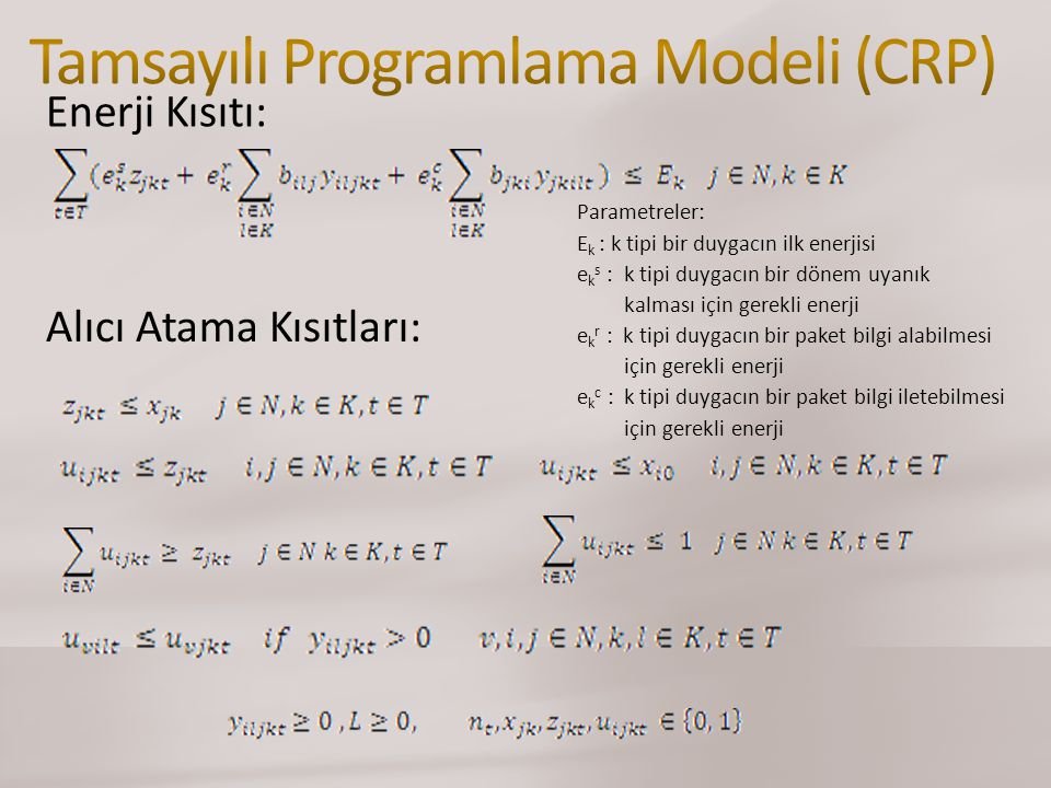 Tamsayılı Programlama Modeli (CRP)