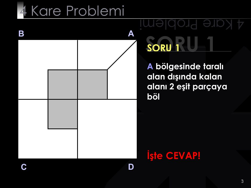 SORU 1 4 Kare Problemi 4 Kare Problemi SORU 1 İşte CEVAP! B A