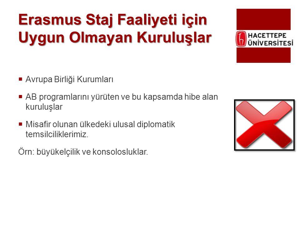 Erasmus Staj Faaliyeti için Uygun Olmayan Kuruluşlar