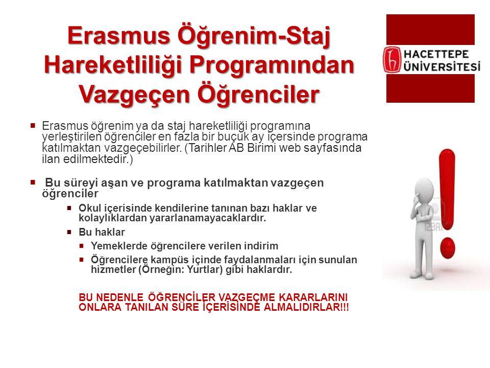 Erasmus Öğrenim-Staj Hareketliliği Programından Vazgeçen Öğrenciler