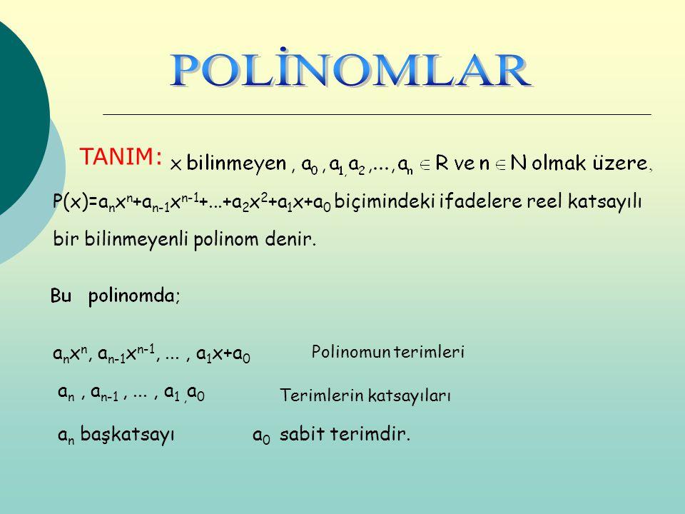 POLİNOMLAR TANIM: P(x)=anxn+an-1xn-1+...+a2x2+a1x+a0 biçimindeki ifadelere reel katsayılı. bir bilinmeyenli polinom denir.