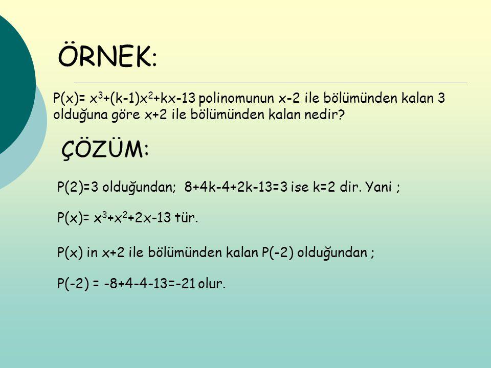 ÖRNEK: P(x)= x3+(k-1)x2+kx-13 polinomunun x-2 ile bölümünden kalan 3 olduğuna göre x+2 ile bölümünden kalan nedir