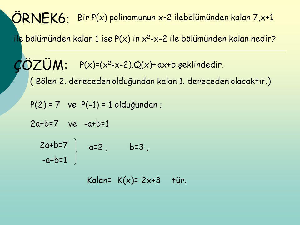 ÖRNEK6: ÇÖZÜM: Bir P(x) polinomunun x-2 ilebölümünden kalan 7,x+1