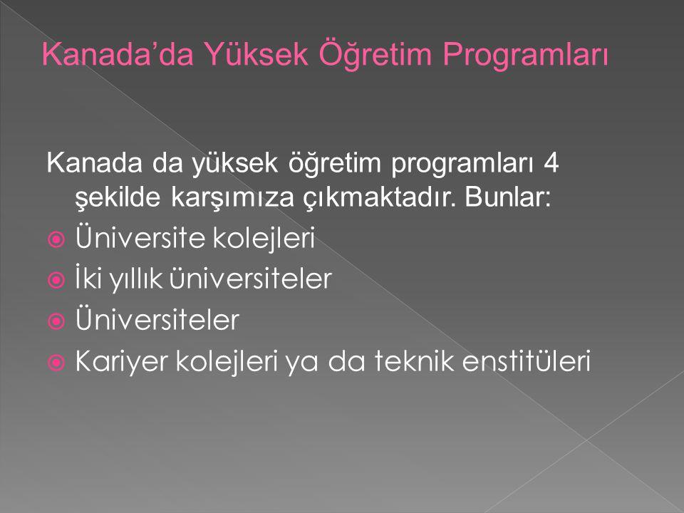 Kanada'da Yüksek Öğretim Programları