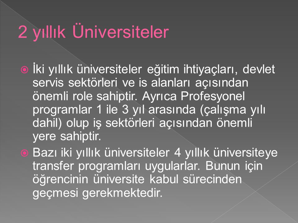 2 yıllık Üniversiteler
