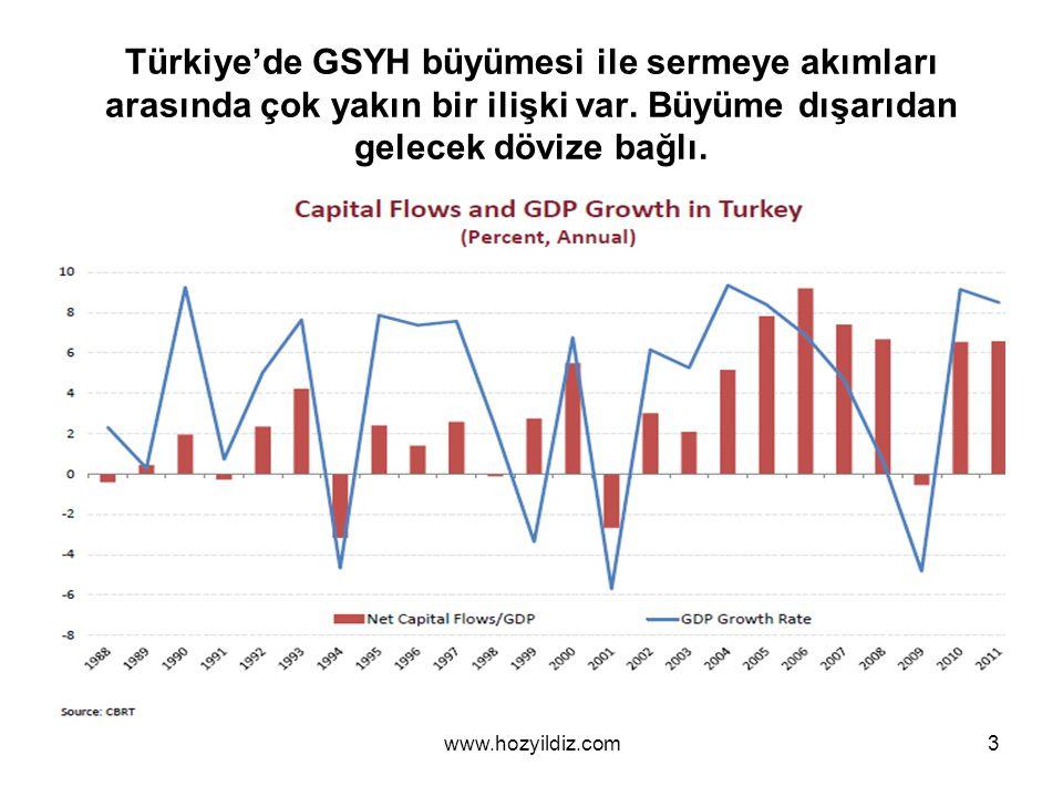Türkiye'de GSYH büyümesi ile sermeye akımları arasında çok yakın bir ilişki var. Büyüme dışarıdan gelecek dövize bağlı.