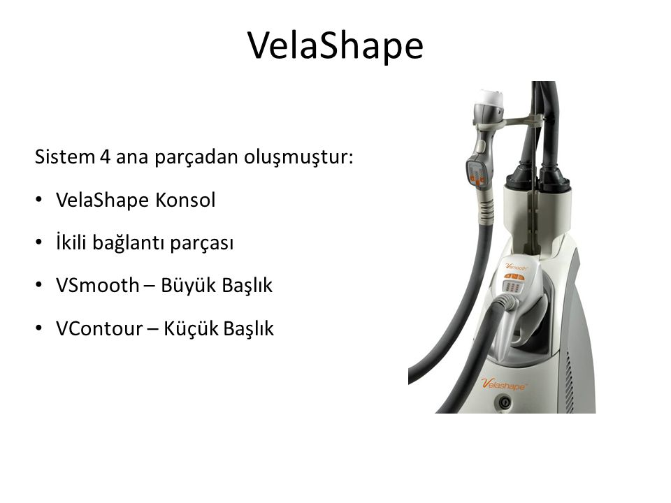 VelaShape Sistem 4 ana parçadan oluşmuştur: VelaShape Konsol