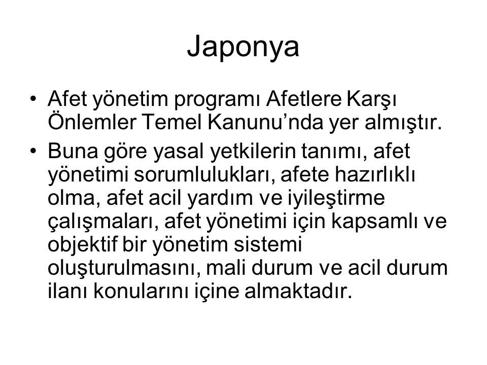 Japonya Afet yönetim programı Afetlere Karşı Önlemler Temel Kanunu'nda yer almıştır.