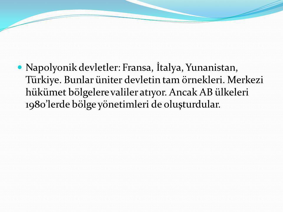 Napolyonik devletler: Fransa, İtalya, Yunanistan, Türkiye