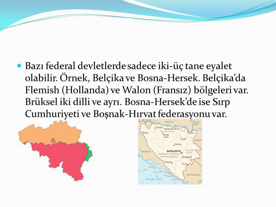 Bazı federal devletlerde sadece iki-üç tane eyalet olabilir