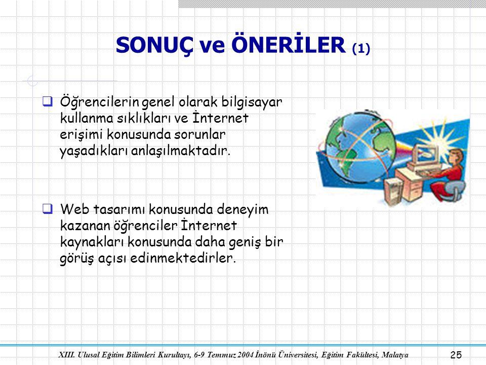 SONUÇ ve ÖNERİLER (1) Öğrencilerin genel olarak bilgisayar kullanma sıklıkları ve İnternet erişimi konusunda sorunlar yaşadıkları anlaşılmaktadır.