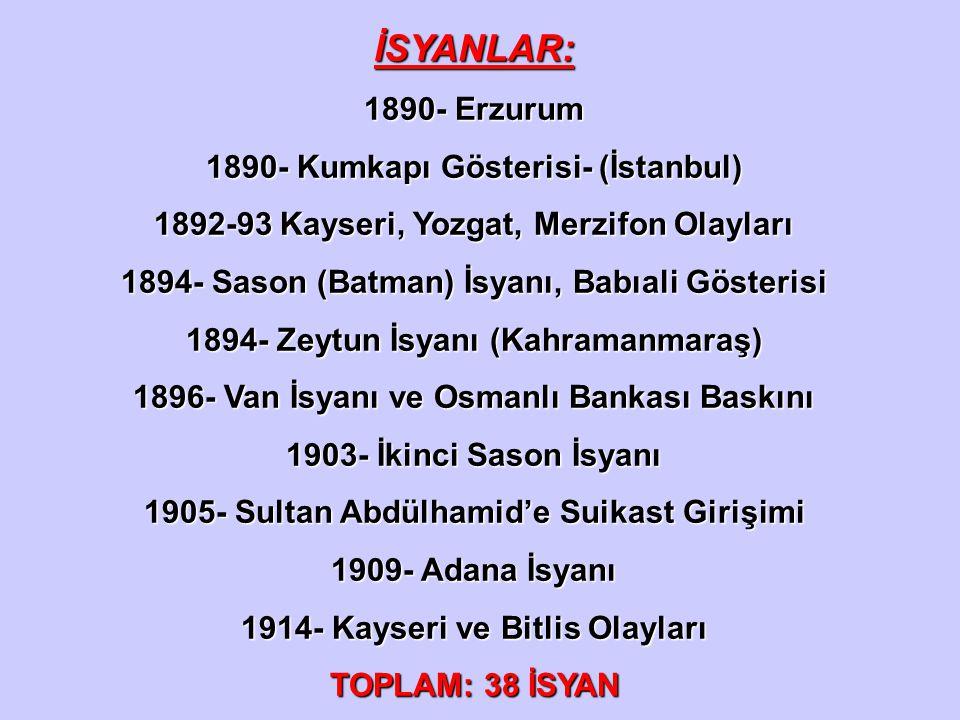 İSYANLAR: 1890- Erzurum 1890- Kumkapı Gösterisi- (İstanbul)