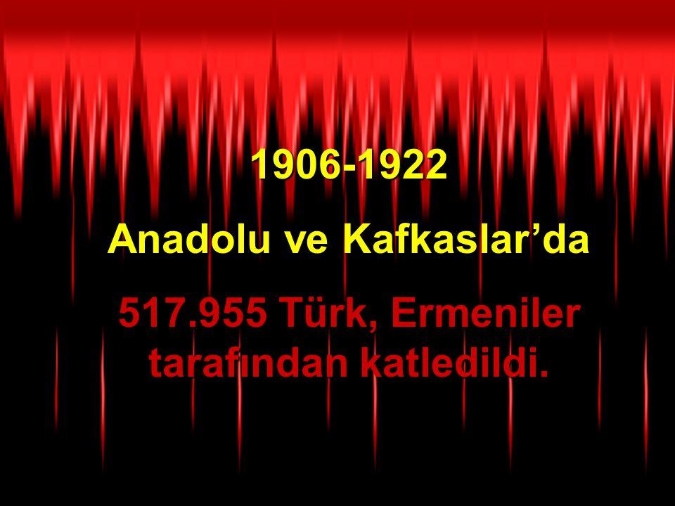 Anadolu ve Kafkaslar'da 517.955 Türk, Ermeniler tarafından katledildi.