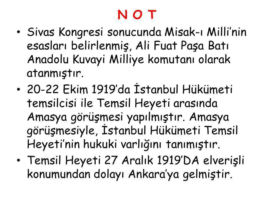 N O T Sivas Kongresi sonucunda Misak-ı Milli'nin esasları belirlenmiş, Ali Fuat Paşa Batı Anadolu Kuvayi Milliye komutanı olarak atanmıştır.