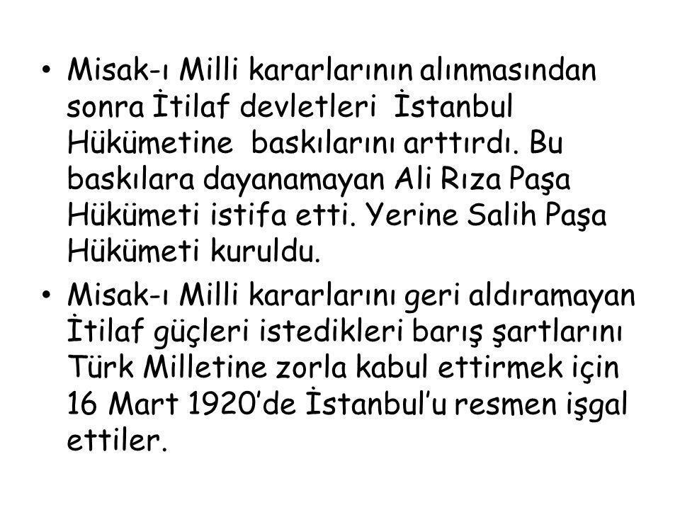 Misak-ı Milli kararlarının alınmasından sonra İtilaf devletleri İstanbul Hükümetine baskılarını arttırdı. Bu baskılara dayanamayan Ali Rıza Paşa Hükümeti istifa etti. Yerine Salih Paşa Hükümeti kuruldu.