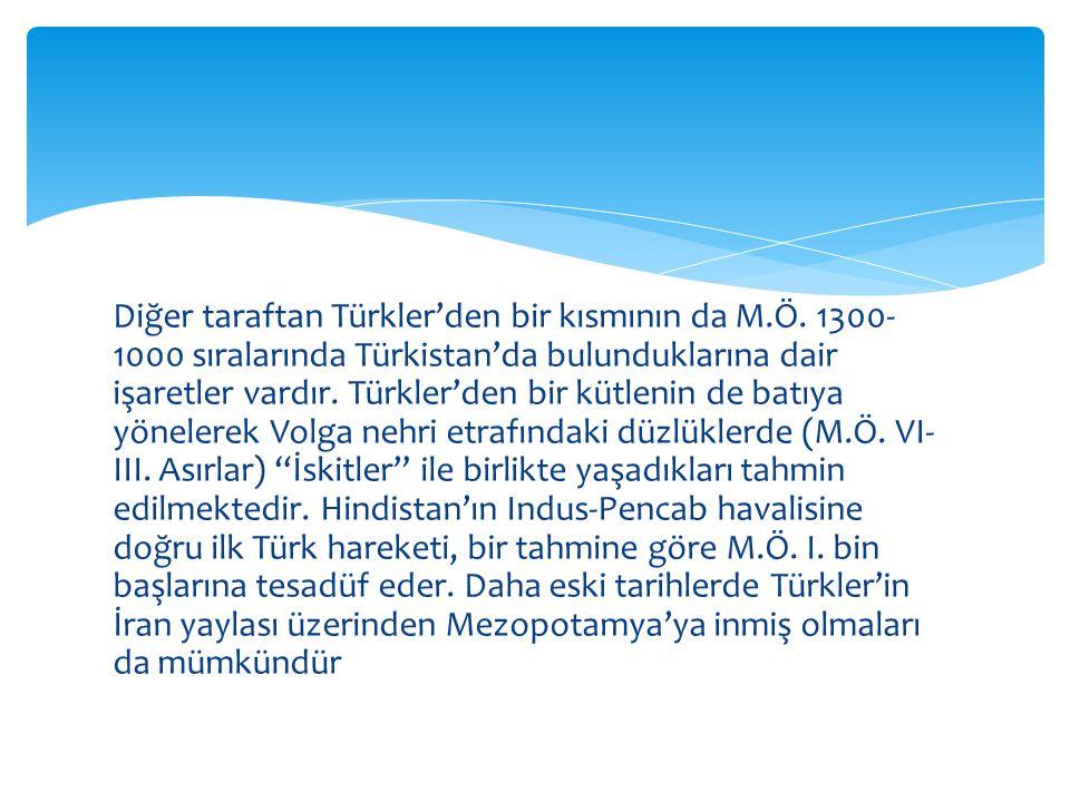 Diğer taraftan Türkler'den bir kısmının da M. Ö