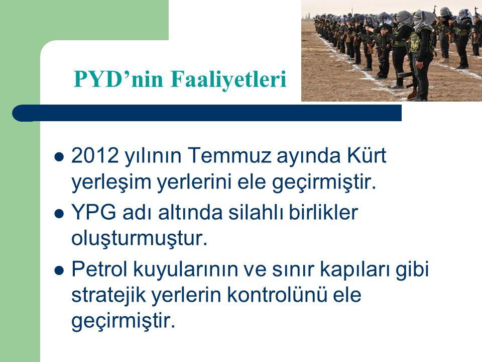 PYD'nin Faaliyetleri 2012 yılının Temmuz ayında Kürt yerleşim yerlerini ele geçirmiştir. YPG adı altında silahlı birlikler oluşturmuştur.