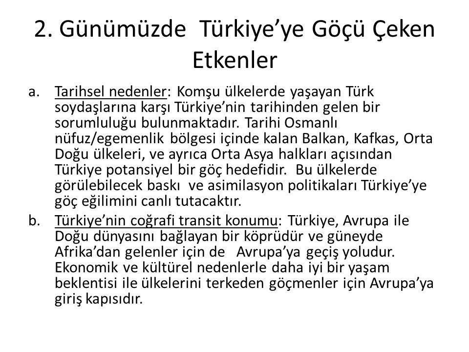 2. Günümüzde Türkiye'ye Göçü Çeken Etkenler