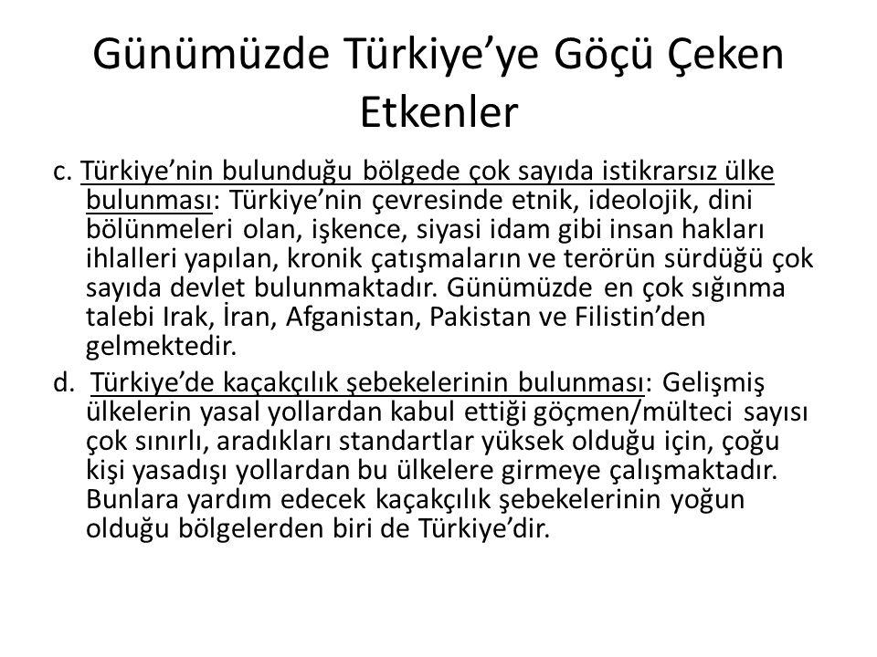 Günümüzde Türkiye'ye Göçü Çeken Etkenler