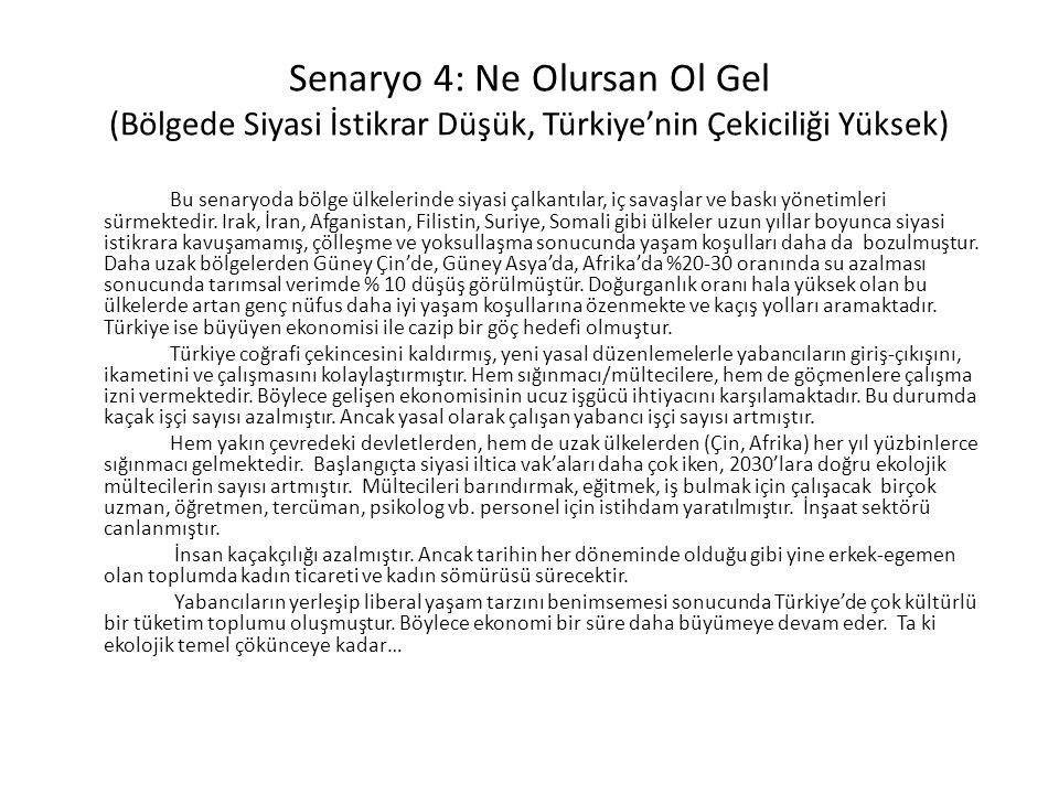 Senaryo 4: Ne Olursan Ol Gel (Bölgede Siyasi İstikrar Düşük, Türkiye'nin Çekiciliği Yüksek)