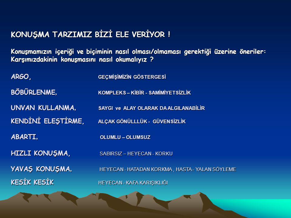 KONUŞMA TARZIMIZ BİZİ ELE VERİYOR !