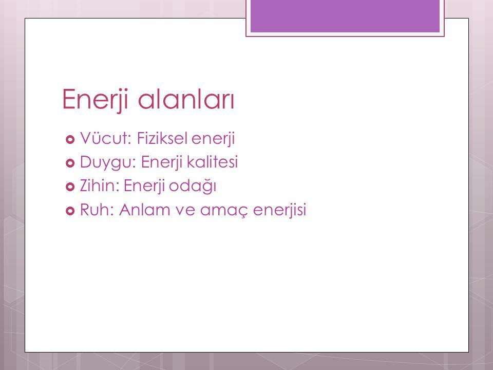 Enerji alanları Vücut: Fiziksel enerji Duygu: Enerji kalitesi
