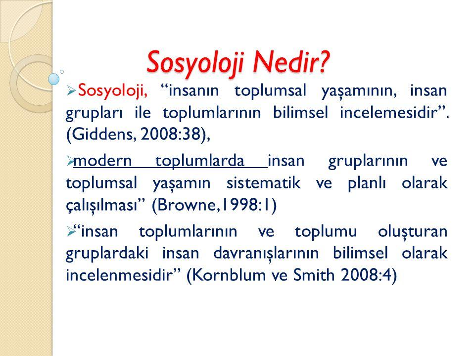 Sosyoloji Nedir Sosyoloji, insanın toplumsal yaşamının, insan grupları ile toplumlarının bilimsel incelemesidir . (Giddens, 2008:38),