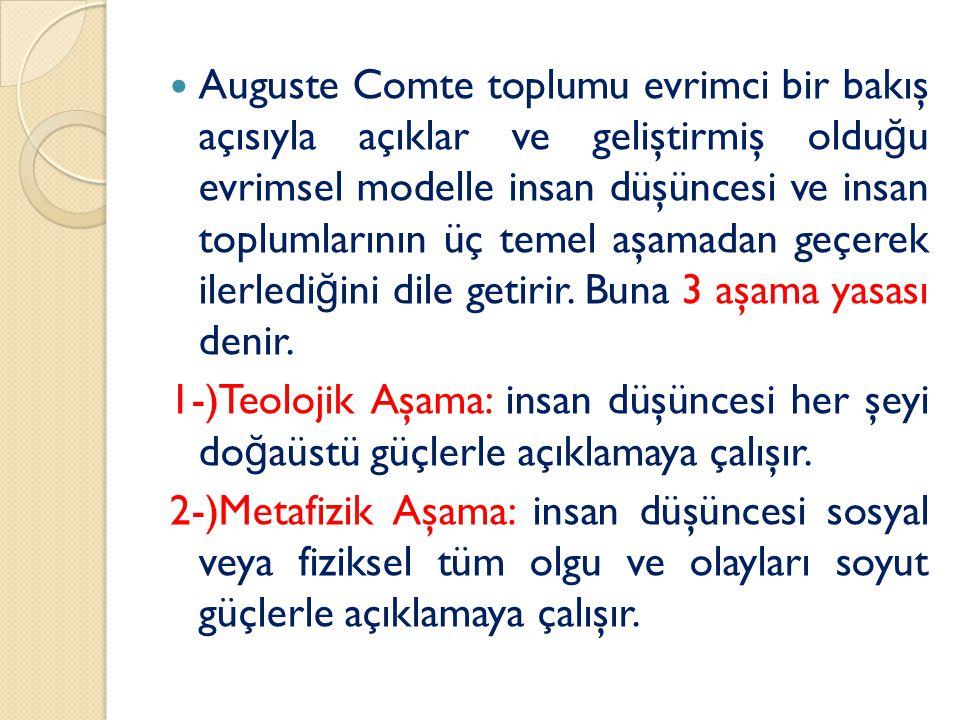 Auguste Comte toplumu evrimci bir bakış açısıyla açıklar ve geliştirmiş olduğu evrimsel modelle insan düşüncesi ve insan toplumlarının üç temel aşamadan geçerek ilerlediğini dile getirir. Buna 3 aşama yasası denir.