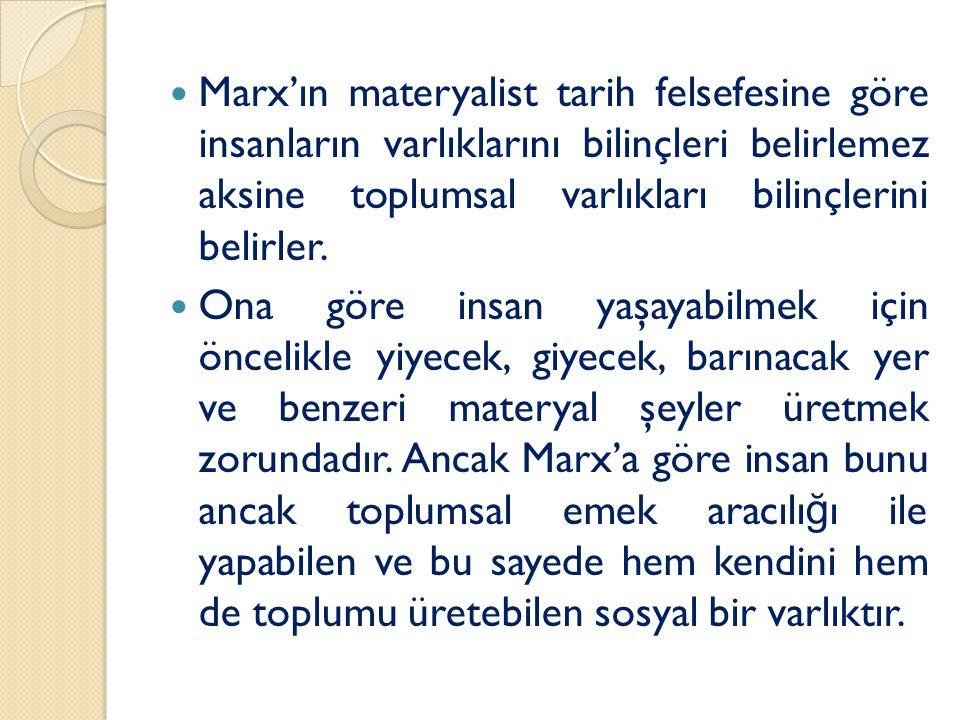 Marx'ın materyalist tarih felsefesine göre insanların varlıklarını bilinçleri belirlemez aksine toplumsal varlıkları bilinçlerini belirler.