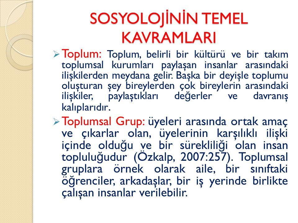 SOSYOLOJİNİN TEMEL KAVRAMLARI