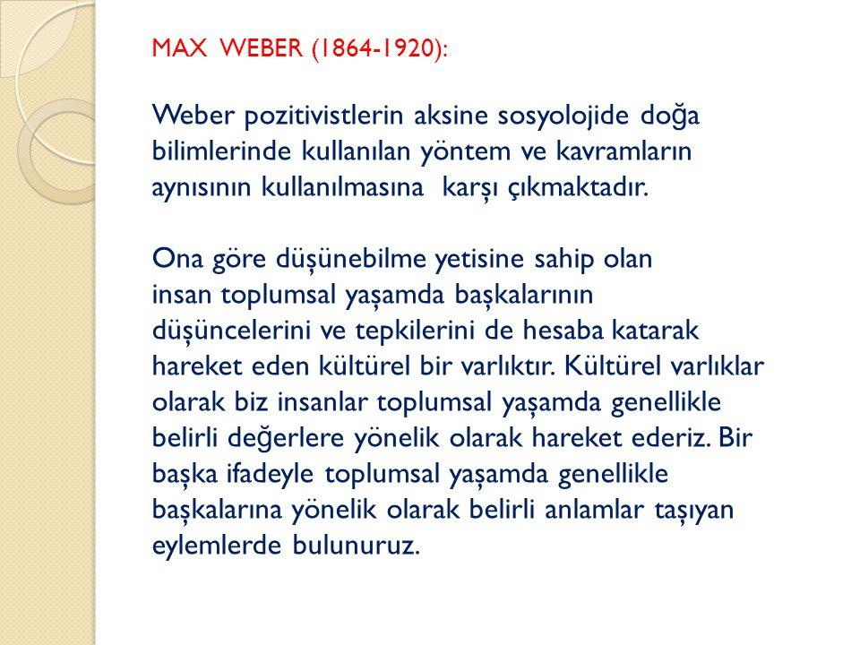 Weber pozitivistlerin aksine sosyolojide doğa