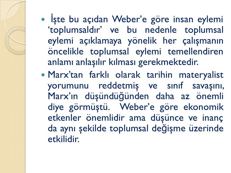 İşte bu açıdan Weber'e göre insan eylemi 'toplumsaldır' ve bu nedenle toplumsal eylemi açıklamaya yönelik her çalışmanın öncelikle toplumsal eylemi temellendiren anlamı anlaşılır kılması gerekmektedir.